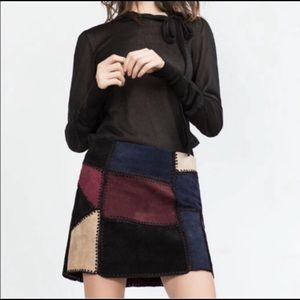Zara Leather and Suede Patchwork Skirt